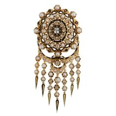 Magnificent and Larger Scale Victorian Pearl  Diamond Brooch