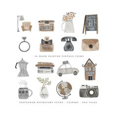 boho vintage clipart watercolor hand painted neutral brown business travel home house camera typewriter antique shop clip art Cupcake Logo, Instagram Story, Photo Editing Apps, Vintage Clipart, Shopping Clipart, Vintage Instagram, Boho Vintage, Bakery Logo, Bullet Journal Inspiration