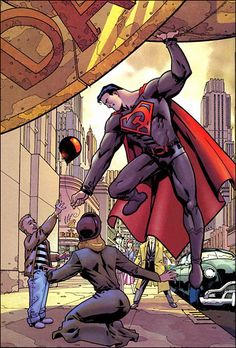 From Mark Millar's Superman: Red Son. Superman re-imagined as a Soviet superhero. Brilliantly inventive and beautifully illustrated comic.