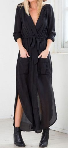 Black Bow Tie Side Maxi Dress. would be awesome with black leggings