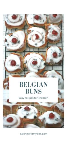 These Belgian buns are a delicious sweet bun filled with sultanas and lemon curd, all topped with fondant icing and a glace cherry. #recipe #easy #sweet buns #homemade #how to make #cinnamon rolls #easy baking #baking with kids #baking ideas Belgian Bun, Belgian Food, Recipes Using Lemon Curd, Recipe Using Lemons, Easy Bread Recipes, Cake Recipes, Snack Recipes, Snacks, Baking Recipes