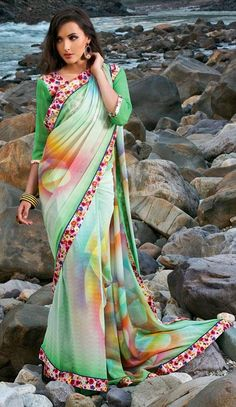 $33.48 Green Printed Faux Georgette Casual Wear Saree 24751