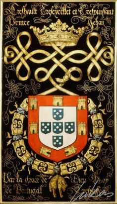 Coat of Arms of the King D. João III of Portugal and Algarves. Portuguese Empire, Portuguese Culture, History Of Portugal, Braga Portugal, Iberian Peninsula, Azores, Knights Templar, Family Crest, Dark Ages