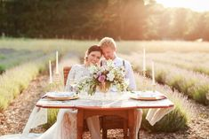 Sweetheart table for outdoor reception - A Style Shoot in a Dreamy Lavender Field   WeddingDay Magazine