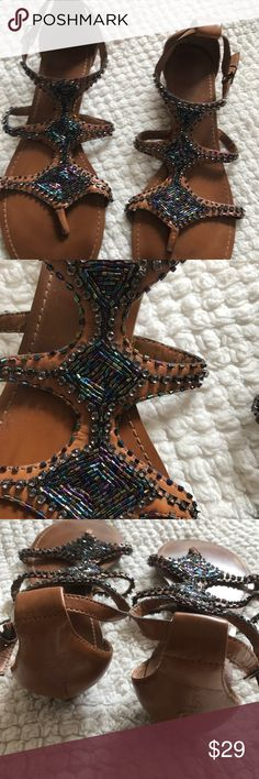 GORGEOUS BEADED MULTICOLORED SANDAL GINNA BINI BEADED AZTEC LOOKING SANDALS. MULTICOLORED ANKLE STRAP CLOSURE.  WORN ONCE.  GREAT CONDITION. ALL BEADS PRESENT. Gianni Bini Shoes Sandals