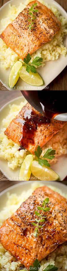 This Ginger Garlic Glazed Salmon will rock your taste buds in more way than one! Moist and delicious, this just might become your favorite recipe! by Let the Baking Begin Salmon Recipes, Fish Recipes, Seafood Recipes, Dinner Recipes, Cooking Recipes, Healthy Recipes, Recipies, Salmon Dishes, Fish Dishes