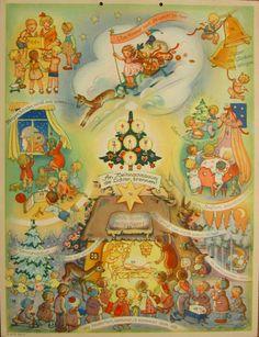 vintage Advent calendar, illus by Charlotte Baron-Raabe, publisher Michel Kunstverlag, Nürnberg