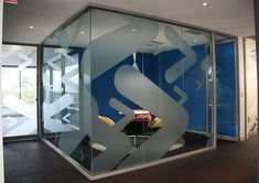 Frosted window graphics create privacy and branding. Glass Sticker Design, Window Glass Design, Bureau Design, Corporate Interiors, Office Interiors, Window Signage, Office Branding, Window Graphics, Window Films
