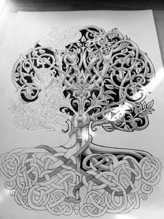 Tree of life with rod and snake wip2 by Tattoo-Design.deviantart.com on @deviantART