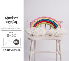 Here at Katia we are always delighted to share amusing projects with you. In this new free pattern Samanta shows you how to make a crochet Rainbow Cushion. Crochet Hook Sizes, Crochet Hooks, Free Crochet, Knitting Patterns, Crochet Patterns, Bonnet Crochet, Crochet Cushions, Knitting Socks, Knit Socks
