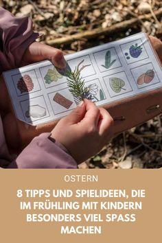 8 Tipps und Spielideen, die im Frühling mit Kindern besonders Spaß machen. #Ostern #Spielideen #Kinder #Frühling Playing Cards, Messages, Feelings, Games, Community, Travel, Mac, Nature, Inspiration
