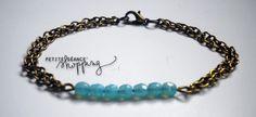 ♥ Bracelet bronze et tige perlée turquoise ♥ : Bracelet par celina-pearl-petite-seance-shopping