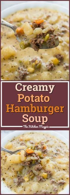 Creamy Potato and Hamburger soup! This hamburger soup is the perfect way to warm up this winter! You can make it in the crockpot or stove top! From @kitchenmagpie Crock Pot Recipes, Easy Soup Recipes, Slow Cooker Recipes, Cooking Recipes, Healthy Recipes, Stove Top Recipes, Potato Recipes In Crockpot, Healthy Soup, Food Dinners