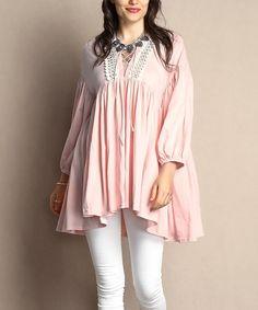 4c4023c7ffc Reborn Collection Light Pink Lace-Panel Peasant Tunic - Plus. Plus Size ...