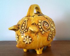 Vintage 1960s Mod Style Piggy Bank by Fitz & by 360VintageStyle
