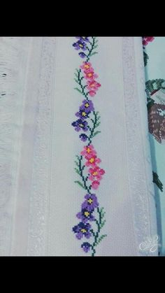 This Pin was discovered by Gül Butterfly Cross Stitch, Cross Stitch Rose, Cross Stitch Borders, Cross Stitch Flowers, Cross Stitch Patterns, Mexican Embroidery, Baby Embroidery, Hand Embroidery Designs, Cross Stitch Embroidery
