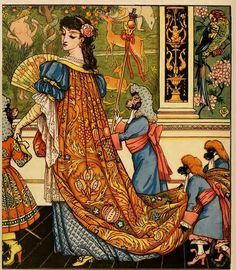 Walter Crane's illustrations for Beauty and the Beast c.1874. http://maudelynn.tumblr.com/post/158693568992/walter-cranes-illustrations-for-beauty-and-the