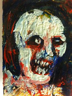 """!ZOMBIEART abstract,   original art,ACEO  jack larson 3.5""""x2.5"""" #Abstract"""