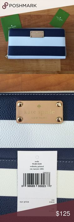 Brand New With Tags! Kate Spade wallet NWT Kate Spade wallet. Navy and white stripes with gold zipper. kate spade Bags Wallets