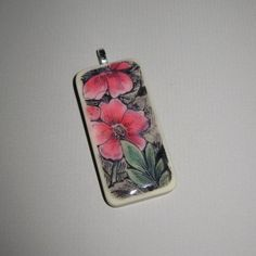 Red Flowers Altered Domino Pendant Hand by TheEmeraldCasket