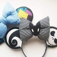 Nightmare Before Christmas ears - The Trend Disney Cartoon 2019 Disney Diy, Diy Disney Ears, Disney Mickey Ears, Disney Bows, Minnie Mouse, Disney Crafts, Disney Outfits, Disney Trips, Jack Skellington