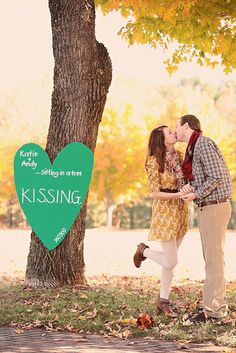 """Wedding Pictures/Inspirations -  engagement picture idea - use  """"&"""" instead of """"+"""" for the names on sign"""