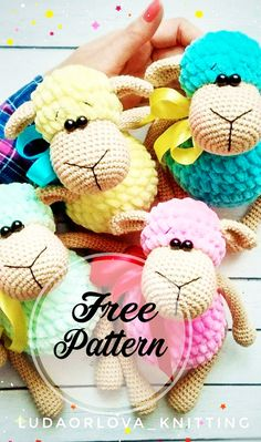 Free amigurumi pattern from Maria Kostyuchenko. Free amigurumi pattern from Maria Kostyuchenko. Designed by Maria Kostyuchenko - Crochet Patterns Amigurumi, Amigurumi Doll, Crochet Toys, Free Crochet, Knitting Patterns, Crochet Sheep Free Pattern, Crochet Gifts, Crochet Animals, Knit Crochet