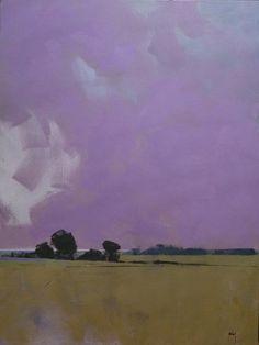 Pintura de paisaje abstracto original - sobre los campos del mar distante