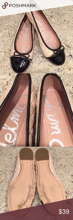Sam Edelman✨Black Toe Flats Blush quilted ballet flats with black toe. See pics for good condition. Bottoms barely worn. Part of signature came off when I removed size sticker. Just pointing out, does not affect wear. Sam Edelman Shoes Flats & Loafers