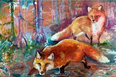 abstract fox art | ... painting on a copper panel of two red fox playing in a wooded area