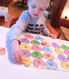 Matching upper and lowercase letters...perfect for Jonah to do with Jeremiah.