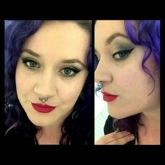 Jewel tone cat eye and a red lip
