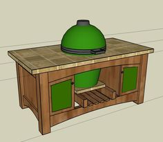 Ideas Backyard Table Ideas Big Green Eggs For 2019 Big Green Egg Outdoor Kitchen, Big Green Egg Table, Green Egg Grill, Outdoor Kitchen Plans, Green Eggs, Outdoor Kitchens, Outdoor Cooking, Outdoor Spaces, Backyard Hammock