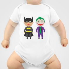 Bat and Joker Cuties Onesie by Salina Ayala - $20.00