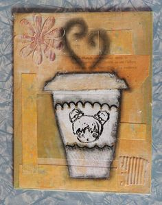 "Cupquake decided to open her own coffee shop filled with kawaii things. She stamped her face on every cup to show her love and appreciation. She invites you to come in and let your worries go as she pours you a steamy cup of joe.  Original mixed media painting.  Size 7""x 9"" Painted on a flat ..."