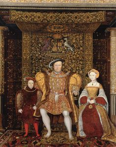 Detail of The Family of Henry VIII, now at Hampton Court Palace, c. 1545 Oil on canvas. Left to Right: Prince Edward, Henry VIII, Jane Seymour Anne De Cleves, Anne Boleyn, Wives Of Henry Viii, King Henry Viii, Jane Seymour Henry Viii, Anne Seymour, Tudor History, British History, Asian History