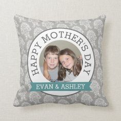 Happy Mother's Day - Custom Photo Template damask Throw Pillow mothers day homemade gifts, mothers day games, mothers day gifts for mother in law Mothers Day Presents, Mother Gifts, Baby Pillows, Throw Pillows, Mother's Day Games, Mothersday Cards, Happy Mother Day Quotes, Mom Pictures, Mothers Day Brunch