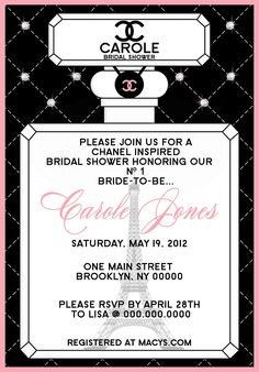 Chanel inspired bridal shower invitation pink black white chanel chanel inspired bridal shower invitation by thepartyfavordiva 1995 filmwisefo