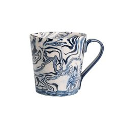 Blue Ebru Light Marble Ceramic Mug | Simple Life Istanbul Turkish linens, tableware and decor