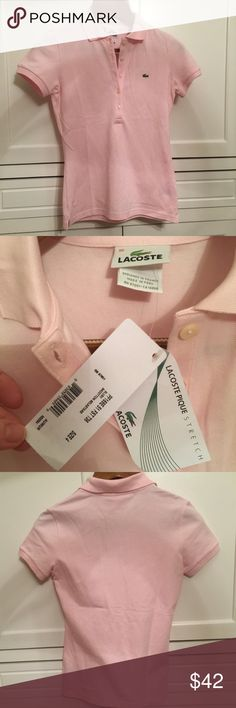 NWT Lacoste Skinny Fit Polo Light pink, never worn. Color is Blush. Lacoste Tops