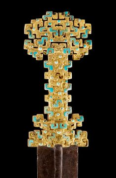 Chinese Qin Sword with gold openwork handle, B. China - Sword with inlaid openwork hilt 金柄蟠虺紋鑲嵌寶石鐵劍 Spring and Autumn period BC), Eastern Zhou Dynasty Historical Artifacts, Ancient Artifacts, Chinese Culture, Chinese Art, Chinese Element, Chinese Style, Sword Hilt, Zhou Dynasty, Asian Art Museum