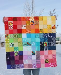Daydreams of Quilts: Rainbow Scrappy Dino Baby Quilt