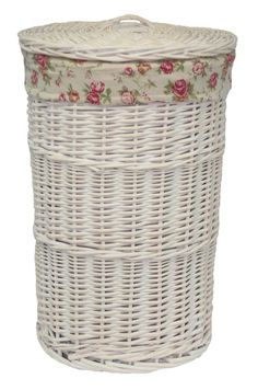 August Grove Full white wash finish willow - removable cotton lining - integral handles Colour: White Wash, Size: Small H x W x D) Laundry Pegs, Small Laundry, Laundry Basket, Laundry Room, Rattan, Wicker, Small Plastic Baskets, Fish Wallpaper, Image House