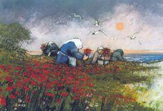 Mario Lupo, Donne e papaveri, 1976, olio su tela, 70 x 50 cm, Ancona