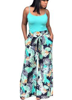 5197e46b8b86a Multi-Color Leaf Print Belted Wide Legs Pants Women Leggings Women  Clothes Sexy Lingeire