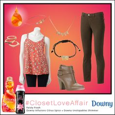 #ClosetLoveAffair Perfect for girls night This Feisty Fresh look was inspired by Downy Infusions Citrus Spice and Downy Unstopables Shimmer. This coral blouse and floral headband will be sure to brighten any look. To shop this look, visit the LC Lauren Conrad collection available only at Kohl's. To register for the #ClosetLoveAffair sweepstakes visit https://downy.promo.eprize.com/pinterest/.