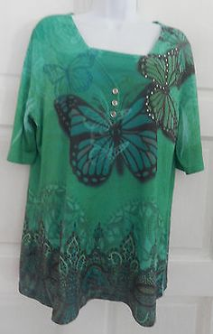 womans tee mulit green color sz XXL (20) casual short sleeve