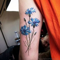 Image result for sunflower and cornflower tattoo