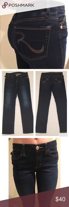 "NWOT Rock &Republic jeans NWOT Rock and Republic Berlin fit medium rise skinny jeans size 10 S in perfect condition. Gorgeous dark wash with copper studded pocket embellishment. Factory fading and whispering give a slimming illusion. Measurements: Waist 16"", inseam 29"", front rise 9"", rear rise 14"". Smoke free home. Bundle for additional savings! Rock & Republic Jeans Skinny"