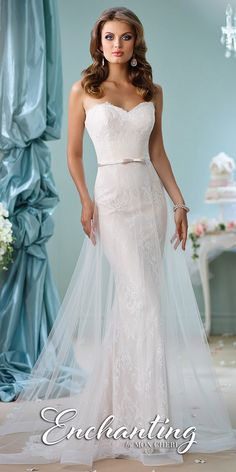 Strapless Bow Belted Wedding Gown by Mon Cheri Enchanting